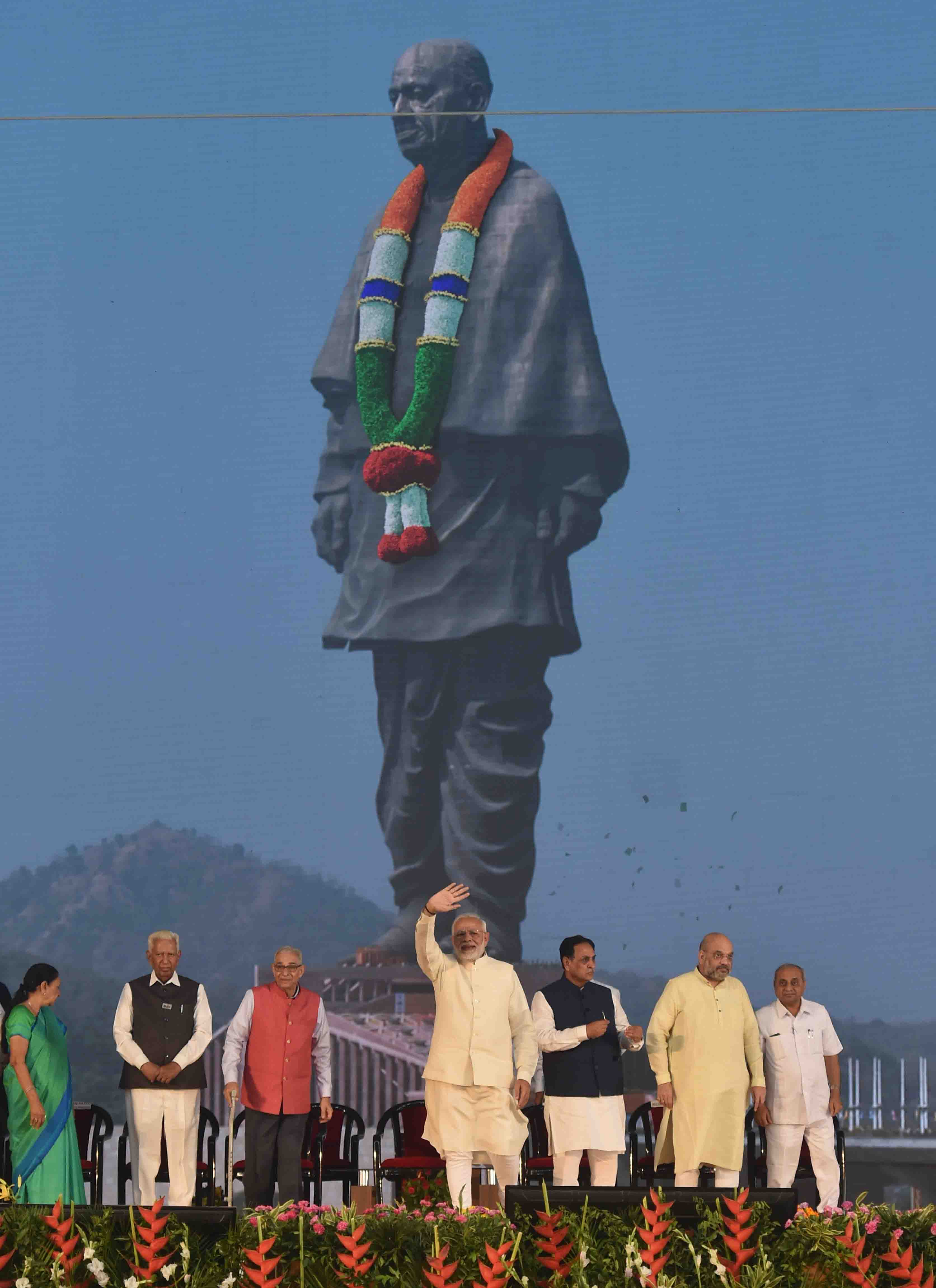 Prime Minister Narendra Modi on Wednesday inaugurated an imposing 182-metre statue of Sardar Vallabhbhai Patel here and said the world's tallest monument will serve as a reminder about his courage to thwart conspiracy to disintegrate India.