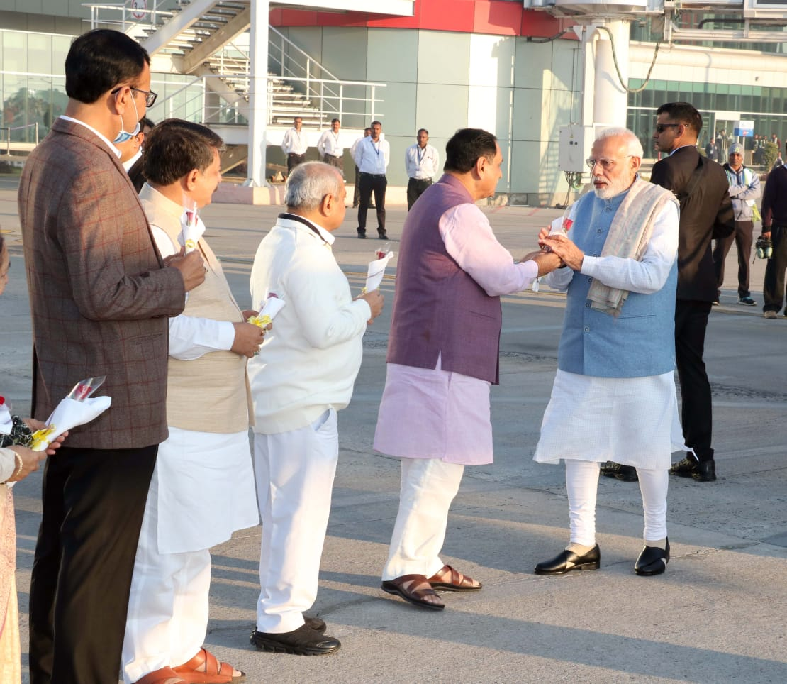 Narendra Modi arrives in Gujarat to attend annual DGP conference; visits Statue of Unity to pay tribute to Sardar Patel