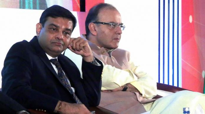 Urjit Patel, RBI Governor, Arun Jaitley, Union Finance Minister during a conference in Andheri, Mumbai on Thursday ahead of BRICS Summit in Goa.